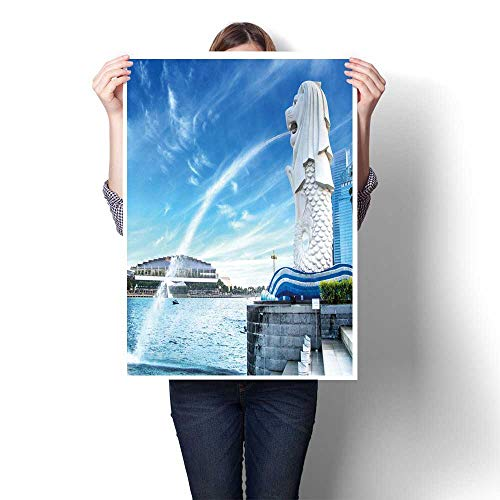 Panels Wall Art Waves Painting on Canvas The Merlion Fountain in Sapore HDRstlye Painting,24