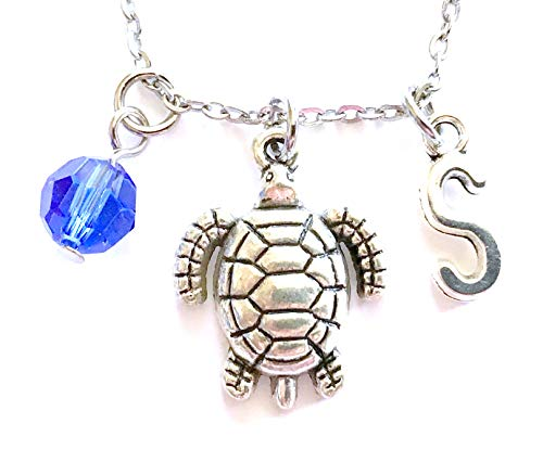 (Tortoise themed personalized necklace. Antique silver charms and a genuine Swarovski birthstone colored element.)