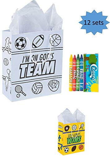 Vacation Bible School VBS Crafts Color Your Own Take Home Bag With Crayons 12 Sets (GOD'S TEAM)