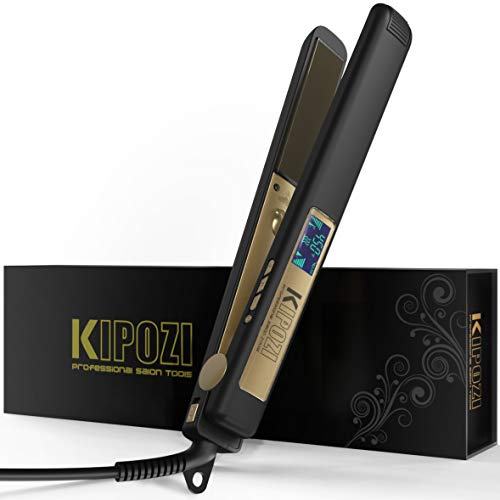 KIPOZI Professional Flat Iron Titanium 1 Inch Hair Straightener with Adjustable Temperature High Heat 450 degrees Frizz Free Dual Voltage Heats Up Quickly Matte Black