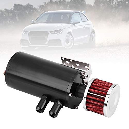 Oil Tank, Universal 300ML Oil Pot Oil Catch Can Reservoir Tank W+Breather Filter & Hose Kit Black
