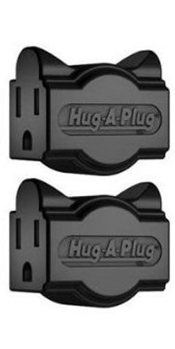 Hug-A-Plug Dual Outlet Wall Adapter, Twin Pack Black