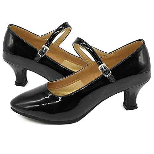 Spesoul Womens Dance Shoes Ladies High Heel Strap Day Pump Shoes for Work Casual Party Wedding Bridal Black