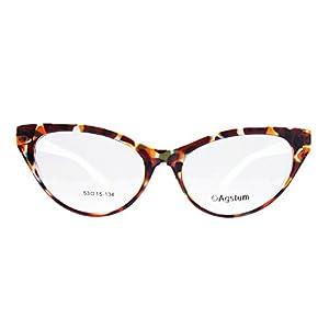 Agstum Ladies Womens Cat eye Glasses Frame Optical TR90 Eyeglasses (Leopard & White)