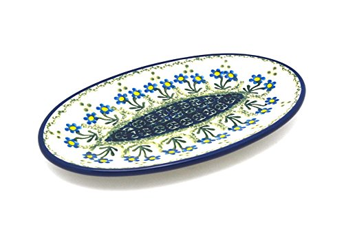 Polish Pottery Plate- Oval - Small - Blue Spring Daisy -