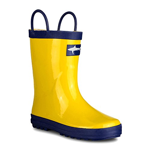 [SBR005P-YELLOW/BLU-T9] Girls Rain Boots: Yellow & Blue, Easy On, Toddlers Size 9