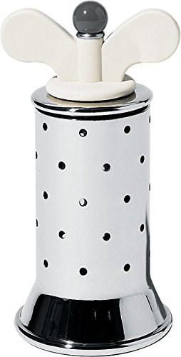 Alessi Pepper Mill in 18/10 Stainless Steel Mirror Polished with Fins in Pa, White 9098 W