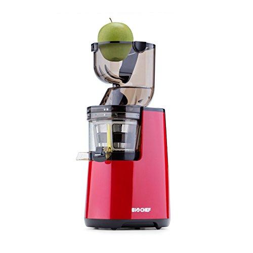 BioChef Atlas Whole Slow Juicer (250W / 40 RPM / LIFETIME Warranty) Wide Chute Juicer, Masticating Juicer, 'Big Mouth' Cold Press Juicer, Whole Fruit & Vegetable Juicer - Retains Nutrients (Red)