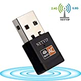 NETVIP 600Mbps Wireless Mini USB WiFi Adapter, Network Lan Card Hotspot Dongle Receiver Dual Band 802.11ac Up to 5.8Ghz/433Mbps 2.4Ghz/150Mbps for PC/Laptop/Desktop Computer