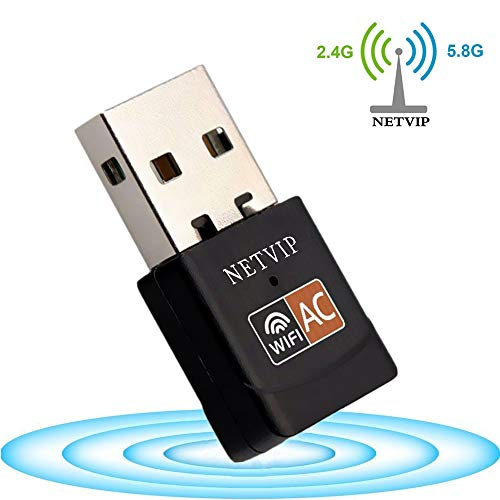 600Mbps Wireless Mini USB WiFi Adapter, NETVIP Network LAN Card Hotspot Dongle Receiver Dual Band 802.11ac Up to 5.8Ghz/433Mbps 2.4Ghz/150Mbps for PC/Laptop/Desktop Computer