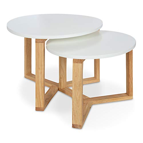 Kate and Laurel Rioux Minimalist, Midcentury Style, Wood Nesting Table Set, 2 Piece, Dual-Tone Finish of White and Light Brown