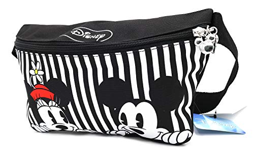 Disney Mickey Minnie Mouse Zippered Waist Fanny Pack Belly Bag for Travel Belt Bag (Stripe Mickey Minnie)
