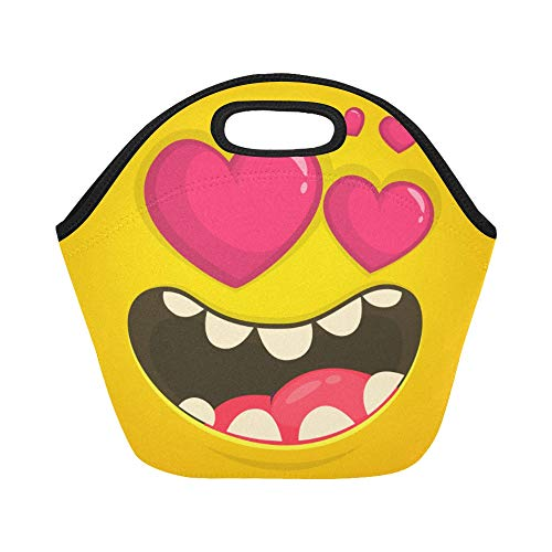 Insulated Neoprene Lunch Bag Cartoon Cool Monster Face Love Heart Large Size Reusable Thermal Thick Lunch Tote Bags Lunch Boxes For Outdoor Work Office School -