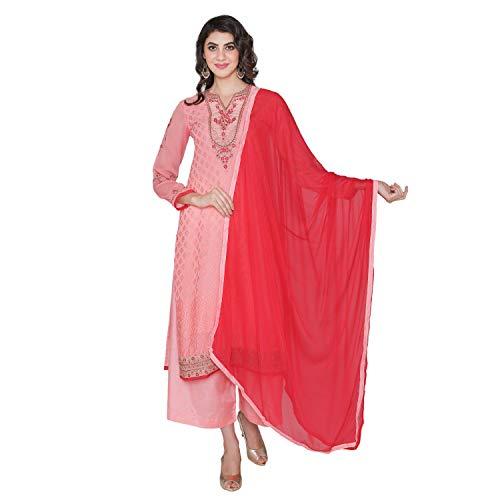 (PinkShink Women's Readymade Pink Brasso Indian/Pakistani Salwar Kameez Dupatta)