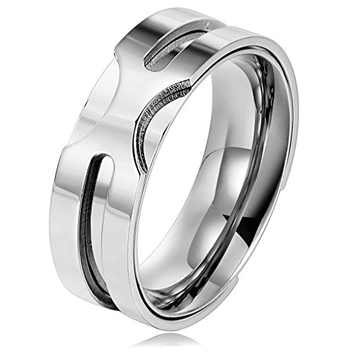 [(Free Engraving)Promise Rings Couples Necklace 8MM Size 8 Stainless Steel Ring with 60cm Chain Silver] (14k Marquis)