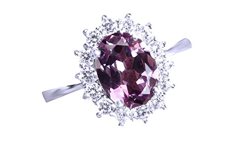 Jewel Zone US Simulated Alexandrite & White Sapphire CZ Solitaire Engagement Ring in 925 Sterling Silver (2.5 Cttw) (Gold Ring Alexandrite 10k)
