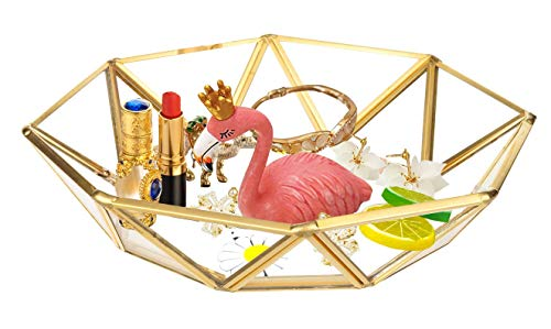 Outdoorfly Decorative Tray Mirrored Vintage Jewelry Makeup Organizer Glass Tray Octagonal Cosmetic Fruit Candy Holder Vanity Storage Perfume Ring Earring Organizer Ornate Trinket (Octagonal) - Octagonal Mirror Tray