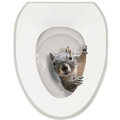 WHAT ON EARTH It's a Squirrel! Toilet Seat Tattoo Decal - Round