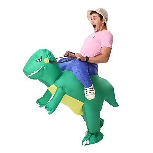 God Halloween Costume Ideas (Decalare Inflatable Dinosaur T-REX/Bull Costumes Fancy Costume Halloween Party Cosplay Fantasy Blow up Costume Adult/Kids (Adult-Green)