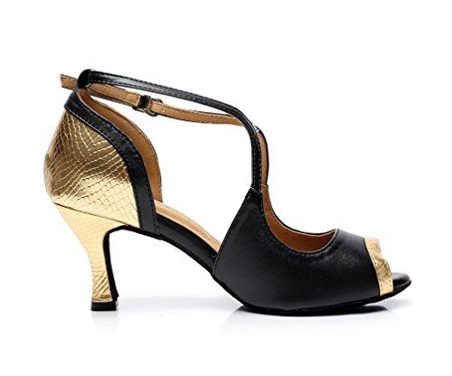 Kevin Mode K6131 Femmes Stiletto Haut Talon Pu Cuir Salle De Bal Danse Latine Chaussures Or