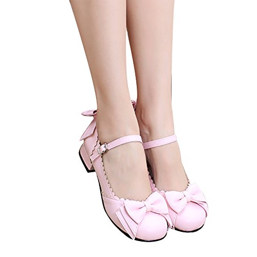 Round Low Jane Toe Block Pink Sweet Japanese Heel Mary Lolita Shoes qwTHZTBnX