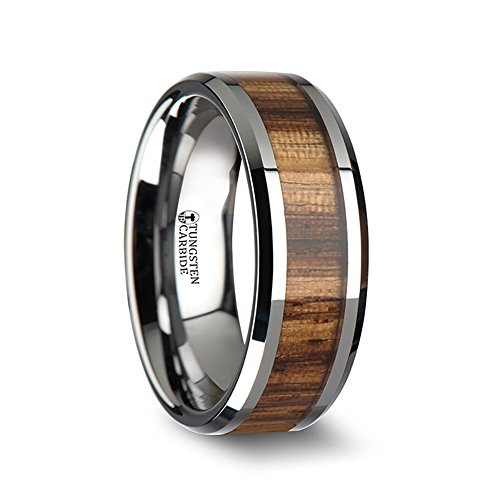 PALMALETTO Tungsten Carbide Wedding Ring with Real Zebra Wood Inlay and Polished Beveled Edges Comfort Fit Wooden Lightweight Durable Wedding Band - 8mm by Thorsten Rings by Thorsten Rings
