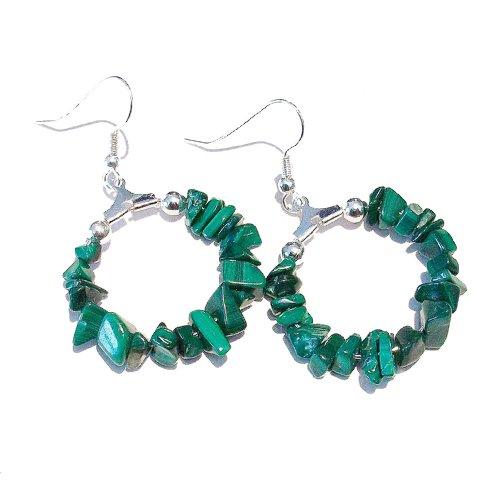 Green Malachite Gemstone Chip Hoop Earrings 25mm - Green Malachite Chip