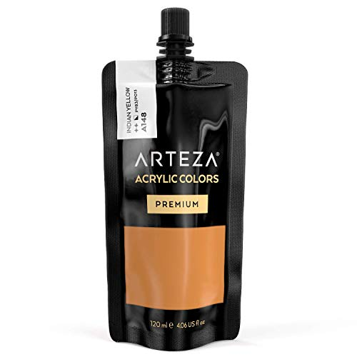 - ARTEZA Acrylic Paint Indian Yellow Color (120 ml Pouch, Tube)