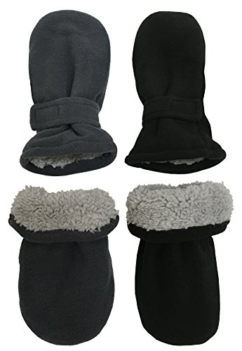 - N'Ice Caps Little Kids and Baby Easy-On Sherpa Lined Fleece Mittens - 2 Pair Pack (Black/Charcoal Pack - Infant No Thumbs, 6-18 Months)