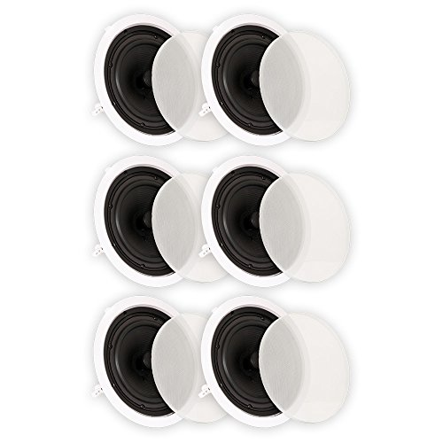 Theater Solutions TS80C In Ceiling 8'' Speakers Surround Sound Home Theater 3 Pair Pack by Theater Solutions