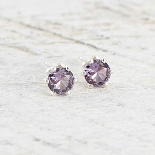 Lab Created Alexandrite 4mm Sterling Silver Stud Earrings Color Changing June Birthday Gift