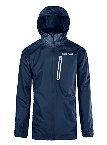 SWISSWELL Hooded Rain Jakcet for Mens Navy Blue Medium
