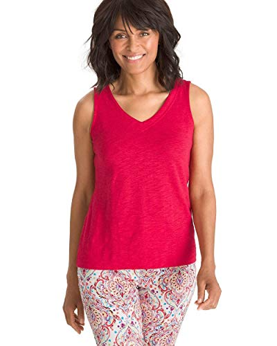 Chico's Women's Cotton-Blend V-Neck Tank Size 8/10 M (1) Red