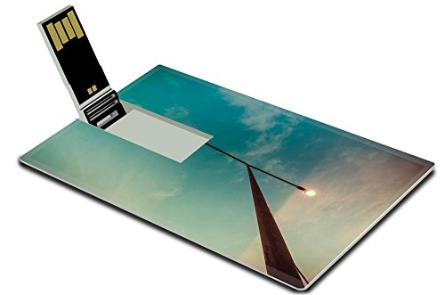 Luxlady 32GB USB Flash Drive 2.0 Memory Stick Credit Card Size Cloud pole and blue sky in the nature vintage concept IMAGE - Cards Gift Rays Discount
