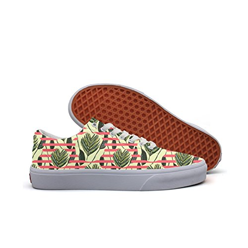 SERXO Hawaiian Leaves Women's Casual Sneakers Canvas Lo-Top News Comfortable ()