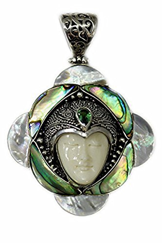 Sterling Silver Carved Bone Face Pendant with Abalone Shell, Mother of Pearl and Green Tourmaline