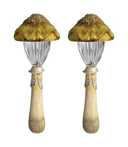 Ledhill Westinghouse Modern Elegance Collection 2-Piece Ceramic Mushroom Top Deco LED Path Solar Light Set