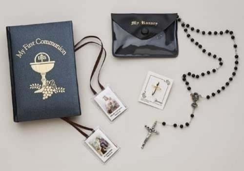 My First Holy Communion Gift Set with Rosary, Missal, and Scapular