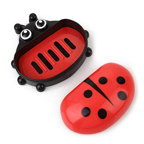 - Kayueti Cute Ladybug Colorful Plastic Soap Box Case Cover Holder Container for Travel Bathroom Drain Soap Holder Kitchen Sponge Storage Rack Jewelry Storage Box red