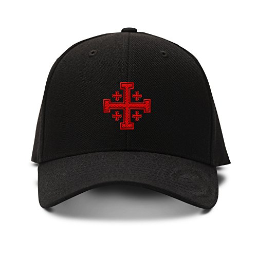 Jerusalem Cross God Jesus Embroidery Adjustable Structured Baseball Hat Black