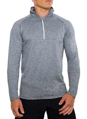 CC Perfect Slim Fit Quarter Zip Pullover Men | Quick Dry Fit Tech Performance | Moisture Wicking Long Sleeve 1/4 Zip Up for Men, Large, Grey
