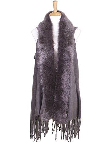 Large Super Soft Faux Fur Trim Wrap Shawl Scarf Sweater Vest with Tassles (Gray) - Fur Trim Scarf