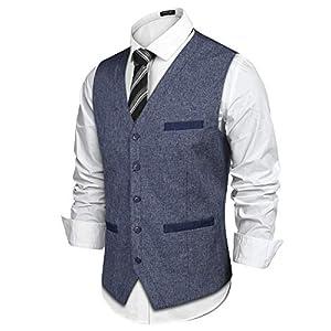 COOFANDY Men's Casual Suit Vest Slim Fit V-Neck Dress Vest Waistcoat Fashion Prom Wedding Vest