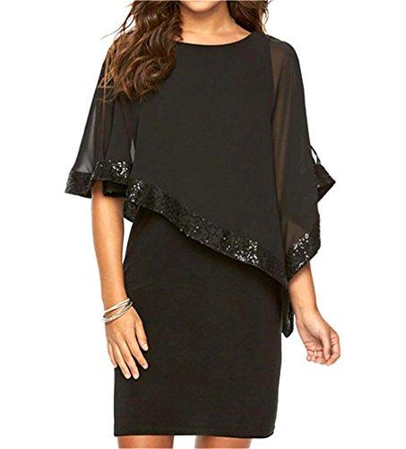 Ruffles Office Dress Sequin Mini Work Black Stitching Domple Casual Womens Pencil O0xqzfEw