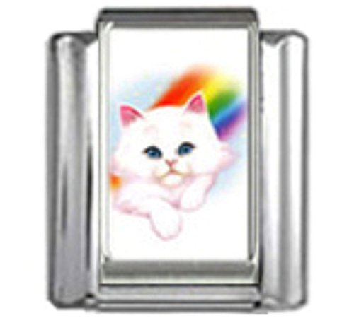 Stylysh Charms CAT White Rainbow Photo Italian 9mm Link CA016 (Charm Italian Rainbow Bracelet)