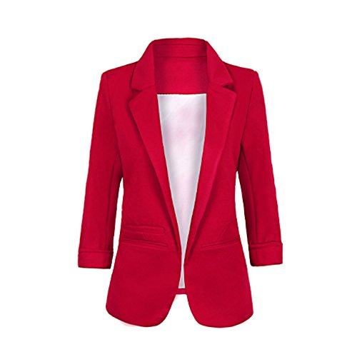 Fashion Story Women's Casual Office Candy Color Lined Open Front Blazer XXL