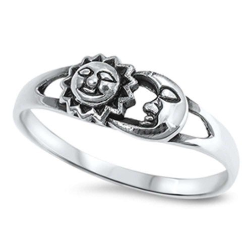 Colors Available! Celestial Sun and Moon .925 Sterling Silver Ring Sizes 4-12 (sterling-silver, -