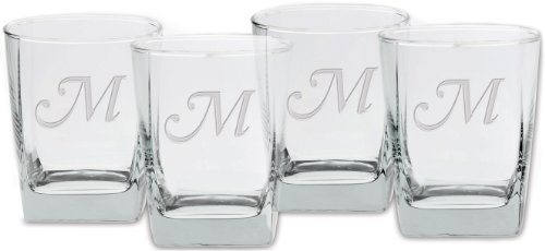 (Culver Deep Etched Double Old Fashioned Glass, 13-Ounce, Monogrammed Letter-M, Set of 4)