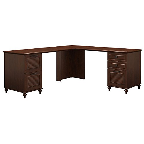 kathy ireland Home by Bush Furniture Volcano Dusk L Shaped Desk with 2 Pedestals in Coastal Cherry