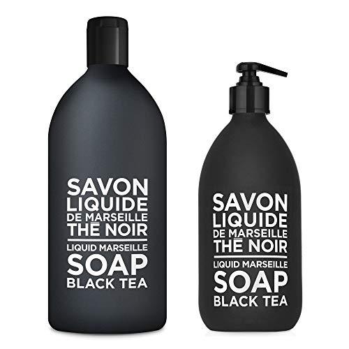 Compagnie de Provence Savon de Marseille Extra Pure Liquid Soap - Black Tea - 16.9 Fl Oz Glass Pump Bottle and 33.8 fl oz Plastic Bottle Refill